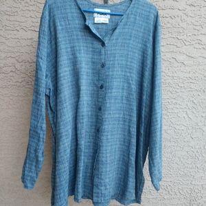 Flax Blue Striped Linen Long Shirt Sz 1G Med - Lg